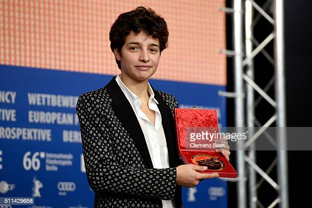 Film maker Leonor Teles winner of the award for best short film attends the award winners press conference of the 66th Berlinale International Film...