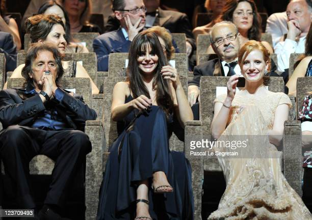 Film maker/actor Al Pacino and Lucila Sola with Jessica Chastain attend the Wild Salome premiere during the 68th Venice Film Festival at Palazzo del...