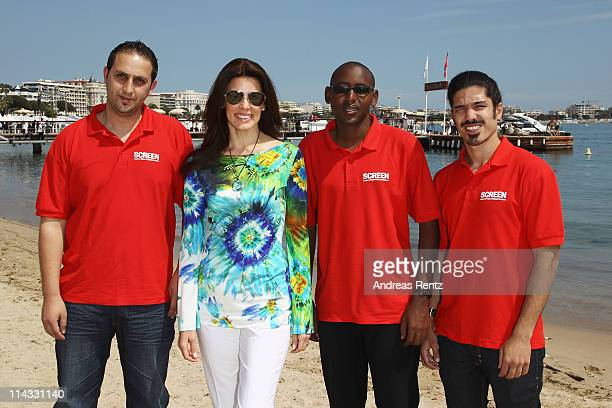Film Makers Ismail Al QaisiPierre Kayitana and Omri Bezalel with Christina Estrada attend a Film Without Borders event during 64th Annual Cannes Film...