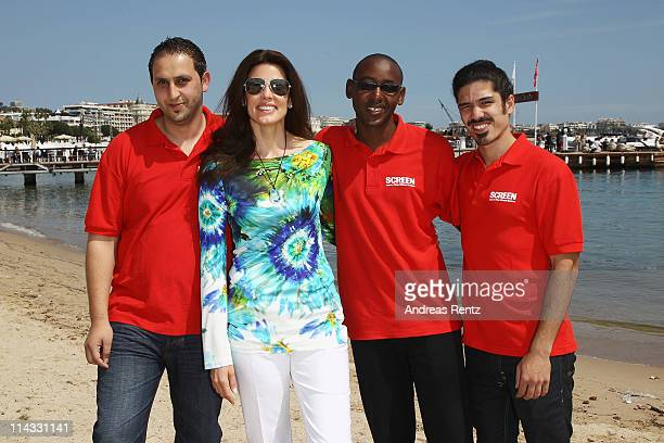 Film Makers Ismail Al Qaisi,Pierre Kayitana and Omri Bezalel with Christina Estrada attend a Film Without Borders event during 64th Annual Cannes...