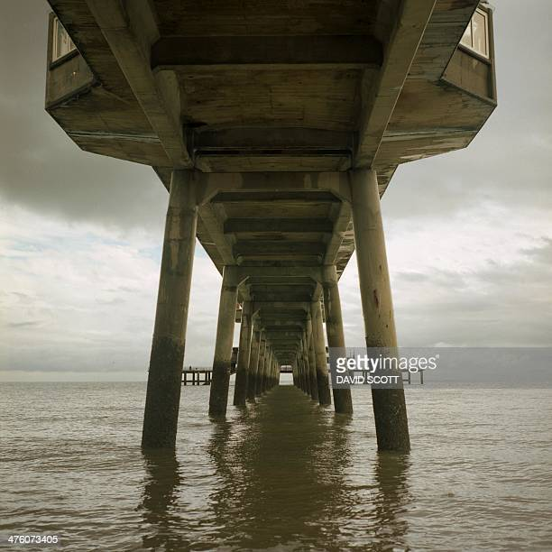 Film Medium Format Deal Pier, Kent Legs Concrete English Channel Dover Seaside Cloudy day perspective
