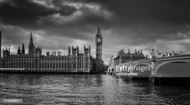 film noir style westminster bridge and big ben - victoria tower stock pictures, royalty-free photos & images