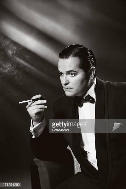 Film Noir style.Smoking man