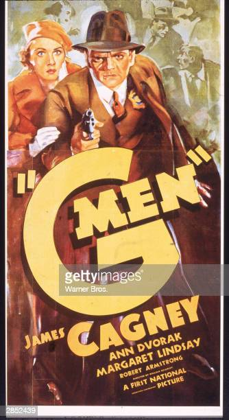 Film poster for 'G Men' directed by William Keighley depicts an illustration American actor Ann Dvorak holding the arm of American actor James Cagney...