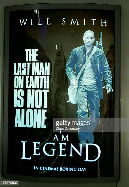 A film poster is dislayed at the UK premiere of I Am Legend at the Odeon Leicester Square on December 19 2007 in London England