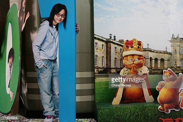 A film poster is seen during a cat show to promote movie Garfield at the Nanjing Workers Cinema on August 11 2006 in Nanjing of Jiangsu Province China