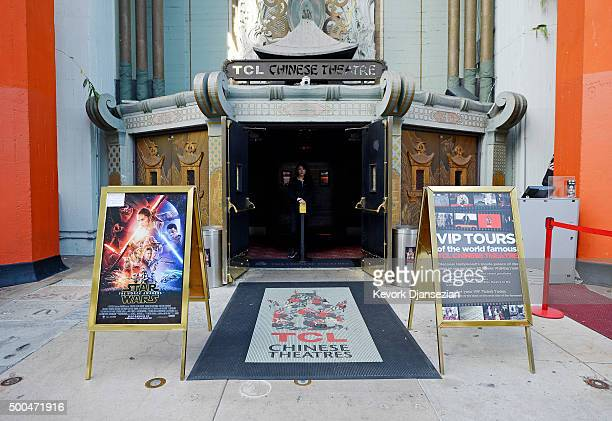A film poster of Star Wars Episode VII The Force Awakens is seen at TCL Chinese Theatre prior to the Dec 17 opening of the film on December 7 2015 in...