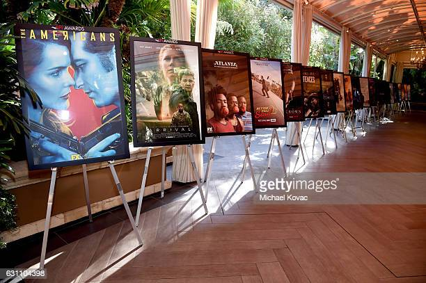 Film posters are seen during the 17th annual AFI Awards at Four Seasons Los Angeles at Beverly Hills on January 6 2017 in Los Angeles California