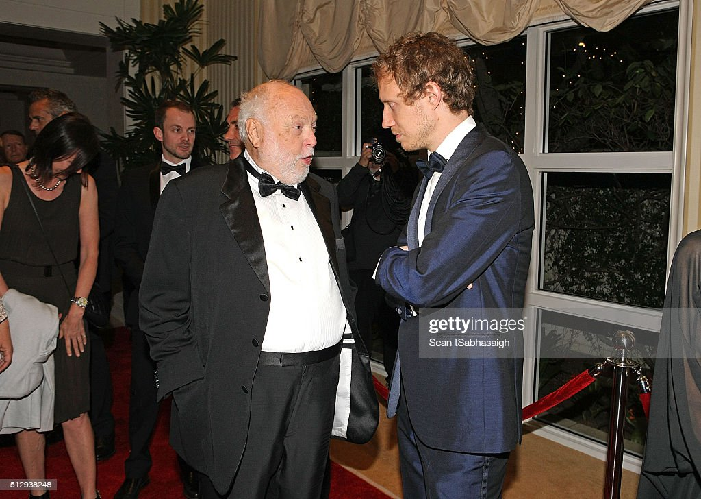Film producer and Hungarian government film industry commissioner Andrew G Vajna speaks with Son Of Saul director Laszlo Nemes on the red carpet at the Pre-Oscar Hungarians in Hollywood Gala celebrating the Academy Award nominated film Son of Saul at the Peninsula Hotel on February 27, 2016 in Beverly Hills, California.