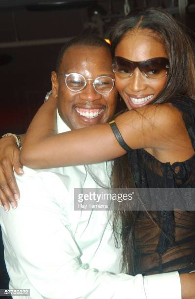 Film producer Andre Harrell and model Naomi Campbell pose for photos at the Bad Boy and Warner Bros Partnership Party at Glow May 3 2005 in New York...