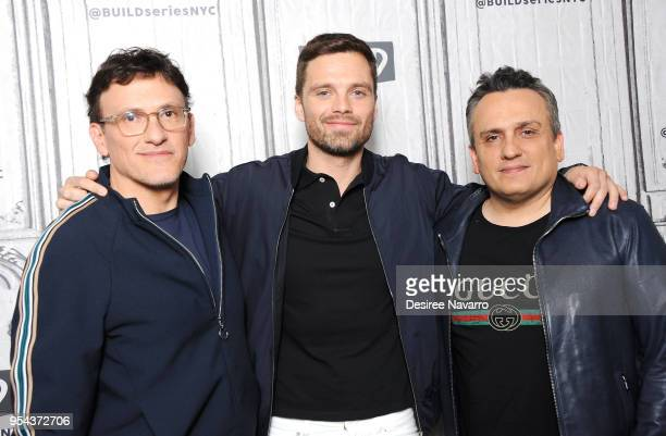 Film producer Anthony Russo actor Sebastian Stan and film director Joe Russo attend Build Series to discuss 'Avengers Infinity War' at Build Studio...