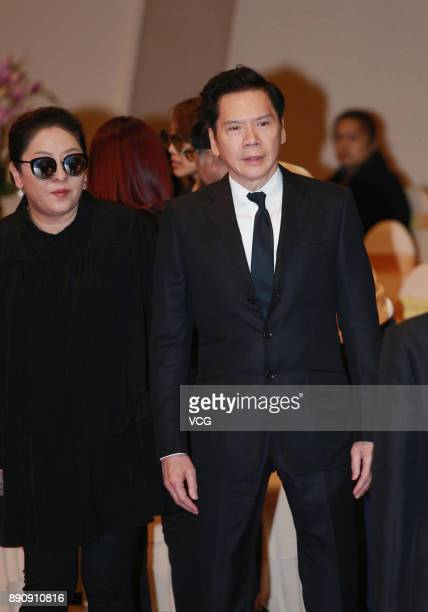 Film producer Charles Heung WahKeung and wife Tiffany Chen attend the memorial service for Hong Kong film and television producer Mona Fong on...