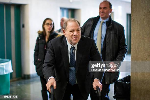 Film producer Harvey Weinstein arrives at the courtroom for his sexual assault trial at Manhattan criminal court on February 3 2020 in New York City...