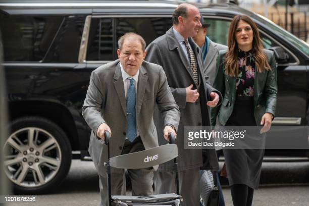 Film producer Harvey Weinstein arrives at the criminal court as jury deliberations begin in his rape and assault trial on February 18, 2020 in New...