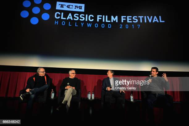 Film producer Jerry Zucker directors Jim Abrahams and David Zucker and TCM host Dave Karger speak onstage at the screening of 'Top Secret' during the...