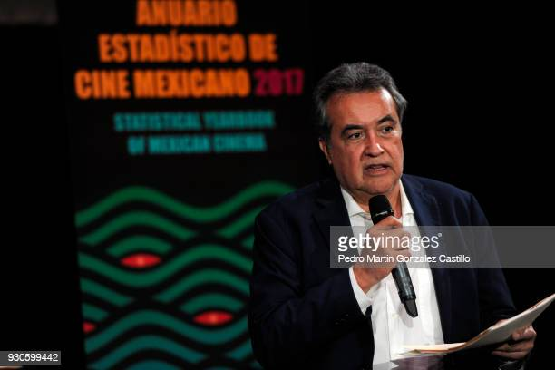 Film producer Jorge Sanchez talks during the presentation of the statistical yearbook of Mexican Cinema 2017 in conjunction with Performing Arts as...
