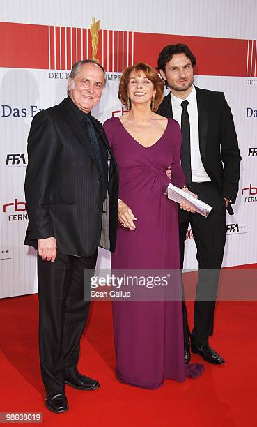 Film producer Michael Verhoeven his wife actress Senta Berger and their son Simon attend the German film award at Friedrichstadtpalast on April 23...