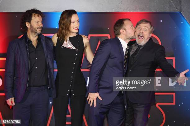 Film producer Ram Bergman film director Rian Johnson and actor Mark Hamill attend the Star Wars The Last Jedi fan event black carpet at Oasis...