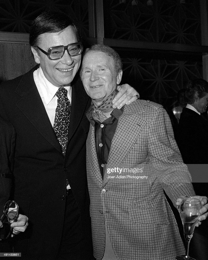 Film producer Ross Hunter with comedian, actor Red Buttons attend a showing of the television movie 'A Family Upside Down' at the Directors' Guild Theatre on March 28, 1979 in Los Angeles, California.
