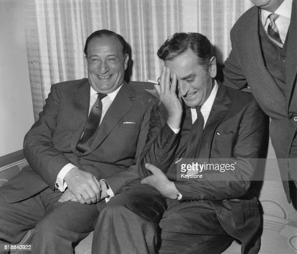 Film producer Sam Spiegel and English film director David Lean at a press reception at Claridge's Hotel in London, 17th February 1960. They are...