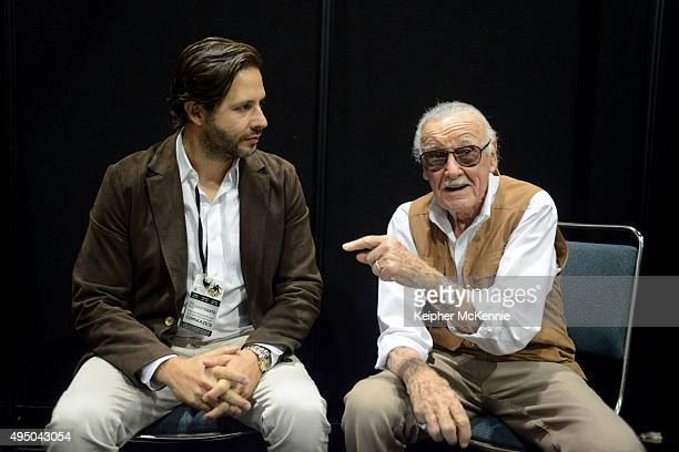 Film producer Terry Dougas and comic book writer Stan Lee attend Comikaze Expo press conference at Los Angeles Convention Center on October 30 2015...