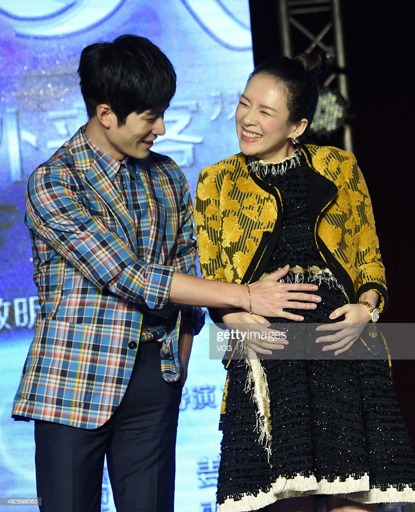 Film producer Zhang Ziyi and actor Cheney Chen attend the press conference of Wei Nan and Wei Min's film 'The Baby From Universe' on August 4, 2015 in Beijing, China.