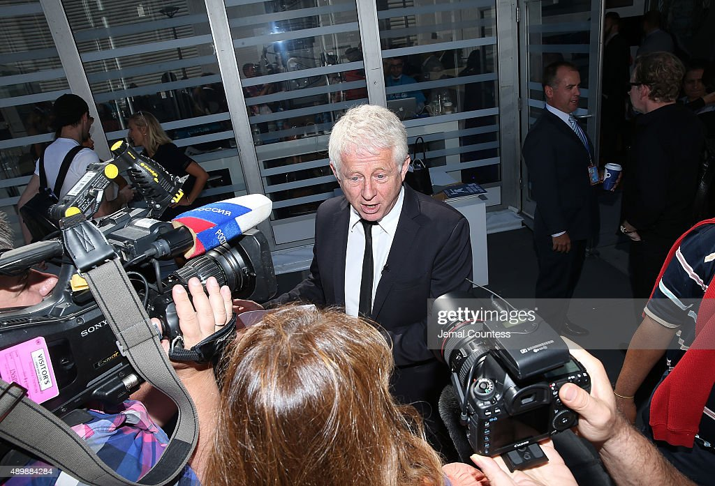 Film producer/director Richard Curtis speaks to the media at the premiere of Global Goals 60 second Cinema Ad at the United Nations on September 24, 2015 in New York City.