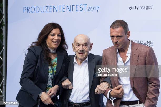 Film producers Alice Brauner Artur 'Atze' Brauner and Michael Zechbauer arrive for the Produzentenfest der Film und Fernsehschaffenden 2017 at the...