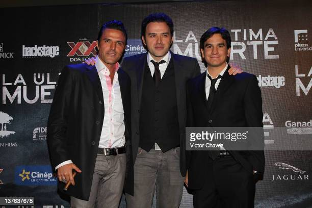 Film producers Billy Rovzar Fernando Rovzar and Alexis Fridman attend The Last Death Mexico City premiere at Cinepolis Plaza Universidad on January...