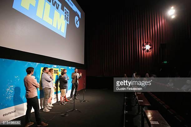 Film Programmer Jim Kolmar actors Richard Elis and Laura Patch director Jamie Adams and actors Dolly Wells and Tom Cullen speak onstage during the...