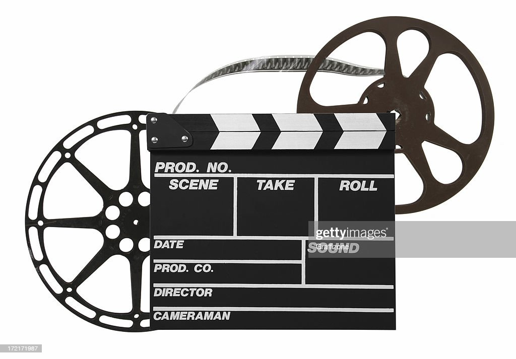 Film reels and clapper : Stock Photo