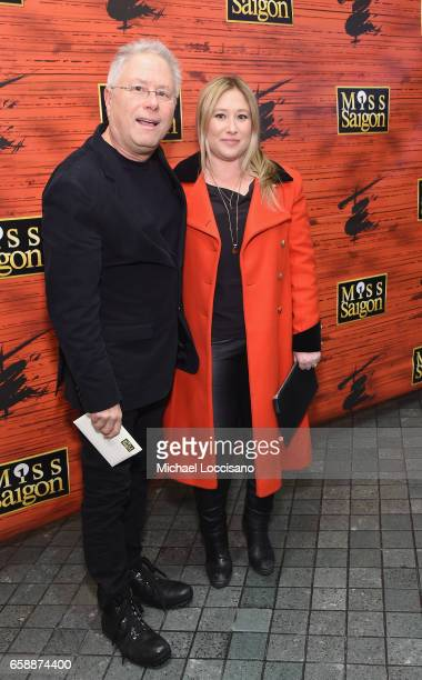 Film score composer Alan Menken and daughter singer Anna Menken attend the opening night of 'Miss Saigon' Broadway at the Broadway Theatre on March...