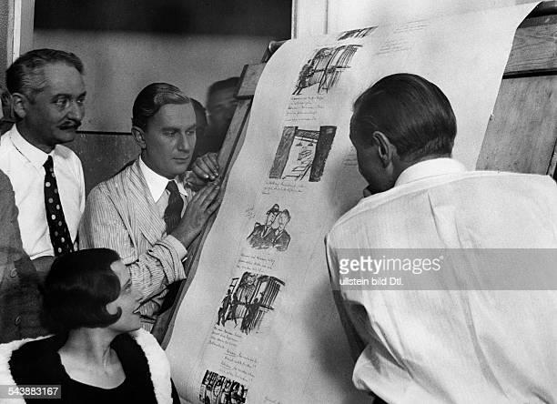 Film screenplay script the director Frank Wysbar explaining his actors Weber Oskar Karlweiss and Ursula Grabley the Storyboard Photographer Willi...