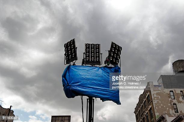 film set light tower - spotlight film stock photos and pictures