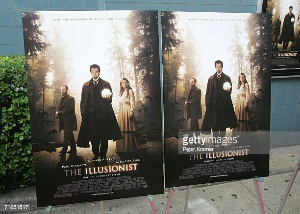 Film signage pictured at Yari Film Group's premiere of The Illusionist at Chelsea West Cinemas August 15 2006 in New York City