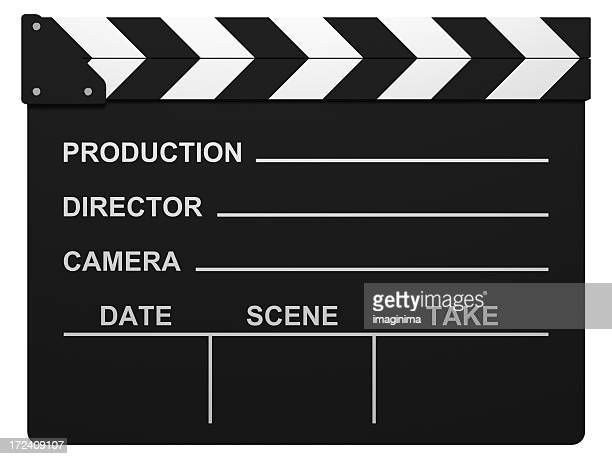 film slate with clipping path - clapboard stock pictures, royalty-free photos & images