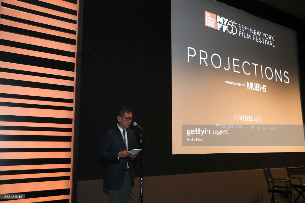 Film Society of Lincoln Center's Director of Programming Dennis Lim makes an intro at a screening of 'Occidental' during the 55th New York Film Festival at Elinor Bunin Munroe Film Center on October 6, 2017 in New York City.