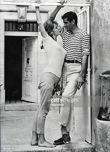 Film St Tropez France 9th July 1960 French film director Roger Vadim and his second wife Annette Stroyberg at their villa
