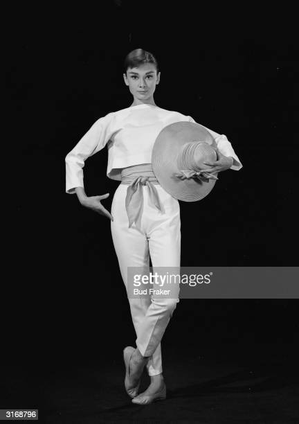 Film star Audrey Hepburn as she appeared in 'Funny Face' directed by Stanley Donen Costumes by Givenchy