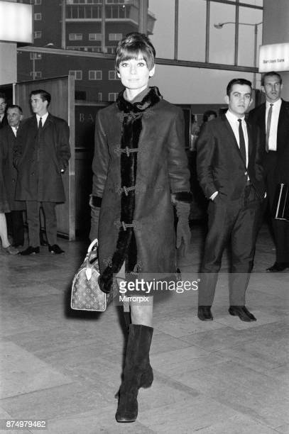 Film star Audrey Hepburn pictured at Heathrow Airport before leaving for her home in Switzerland 5th November 1966