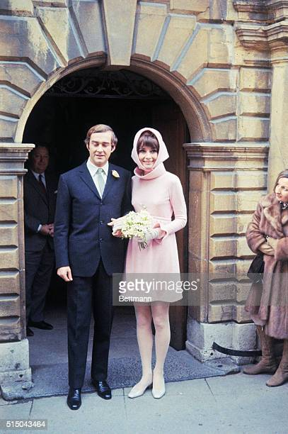 Film star Audrey Hepburn poses with her new husband Italian psychiatrist Dr Andrea Dotti after their wedding January 18th
