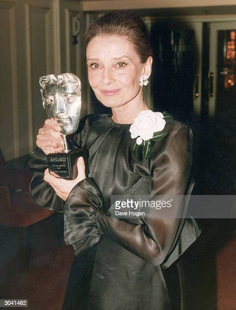 Film star Audrey Hepburn with the Special Award she received from the British Academy of Film and Television Arts 1992