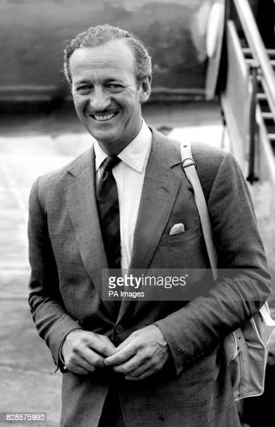 Film Star David Niven arrives at London Airport from Paris where he has been making film tests for Otto Preminger's production 'Bonjour Tristesse' in...