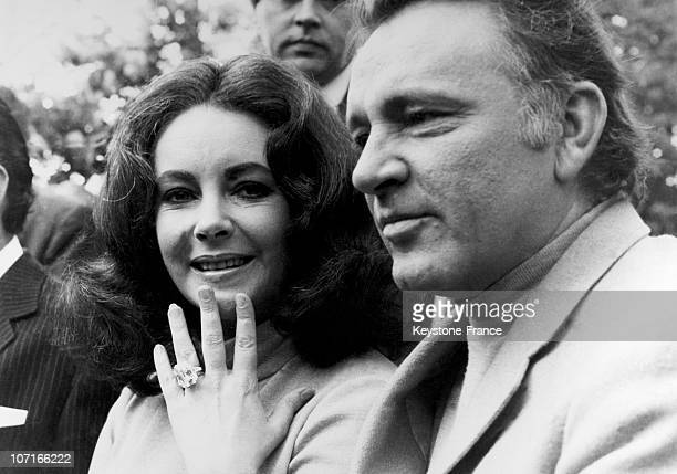 Film star Liz Taylor showing ring worth 127 thousand pounds that she offered Richard Burton on May 20, 1968.