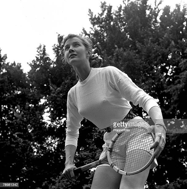 Film star, Lois Maxwell pictured playing tennis