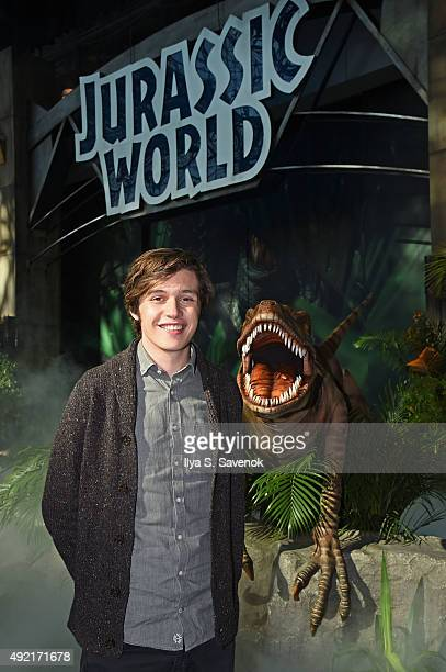 Film star Nick Robinson with the Raptor at the Jurassic World Gates at New York Comic Con in celebration of the upcoming Bluray and DVD release at...