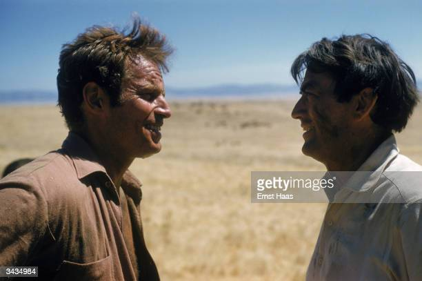 Film stars Charlton Heston and Gregory Peck as they appeared in the film 'Big Country' a United Artists' film directed by William Wyler