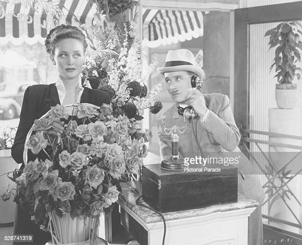 Film still of actors Charlie Chaplin and Marilyn Nash in a scene from the film 'Monsieur Verdoux' 1947