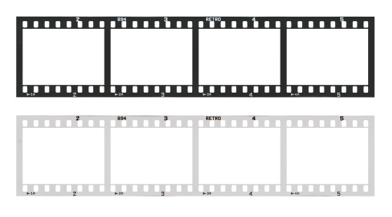 film strip template with frames, empty black and white 135 type (35mm) in negative and positive isolated on white background with work path. 949845566