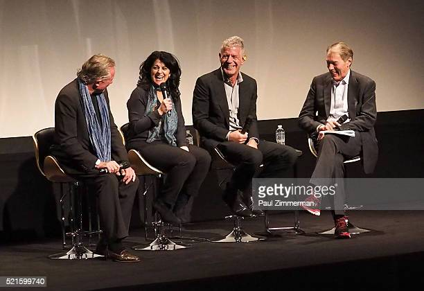Film Subject Chef Jeremiah Tower producer Lydia Tenaglia executive producer Anthony Bourdain and TV host Charlie Rose speak on stage at CNN Films...